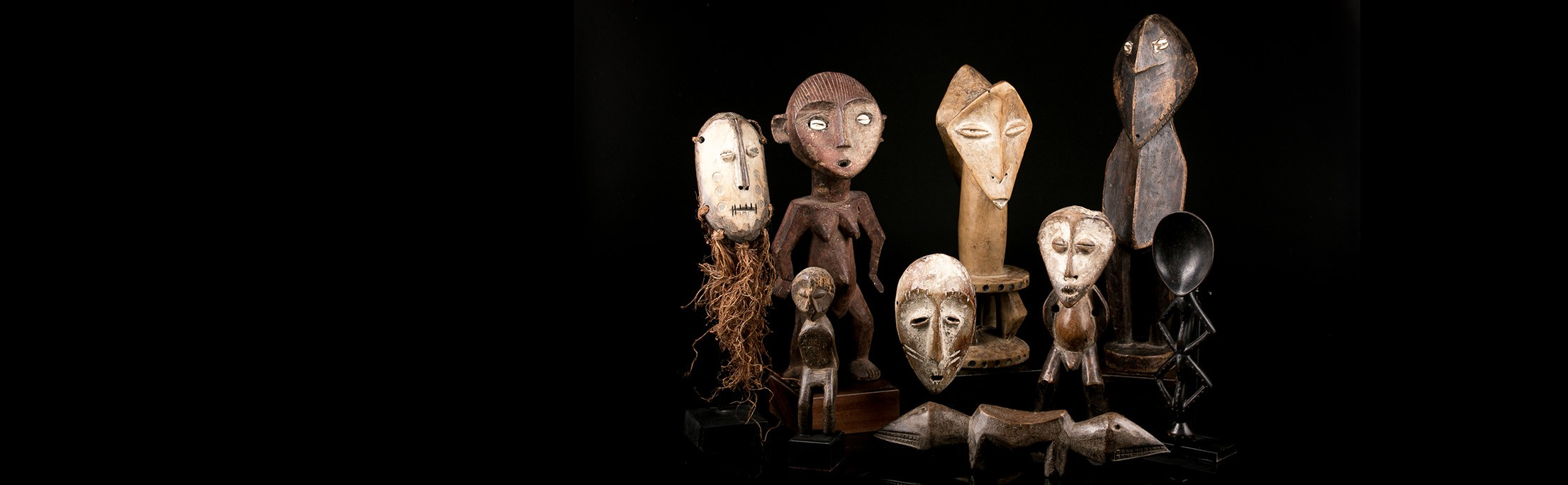 African statues and African Lega masks: authentic art from the Congo
